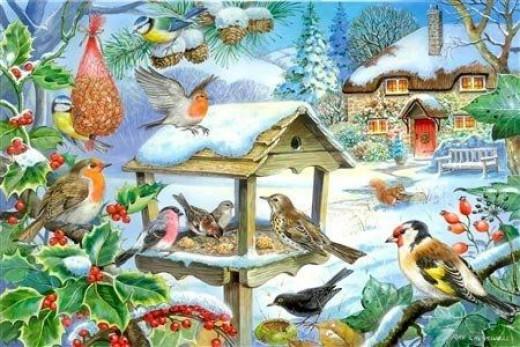 Feed the Birds - Winter Garden - Jigsaw Puzzle