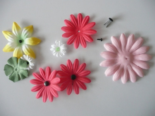 Gerbera daisy fabric flowers and black brads