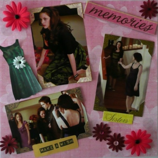 Bella's New Moon Birthday Party Twilight Scrapbook Page. Copyright of the author