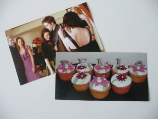 Photo from Bella's party, and a photo from your own party. I used a picture of my homemade Bella Gerbera daisy cupcakes.