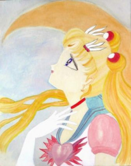 My friend loves Sailor Moon and asked me to paint a picture of her childhood hero. She was ecstatic over the results.
