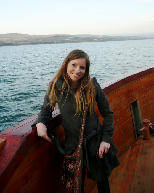 On the sea of Galilee boat tour with my purse at the ready