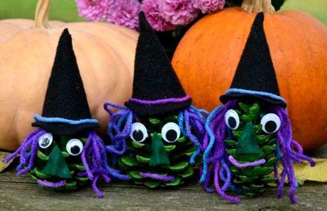 craft-pinecone-green-witch-black-hat