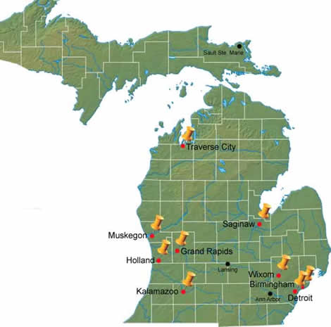 College of Engineering and Applied Sciences - map of research centers around the state. Many businesses receive help from these centers in creating new and better methods of business and new jobs.