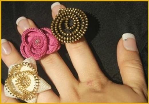 zipper teeth fashion finger rings