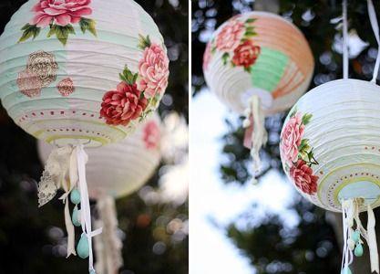 flower decoupaged lanterns
