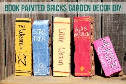 painted bricks library books