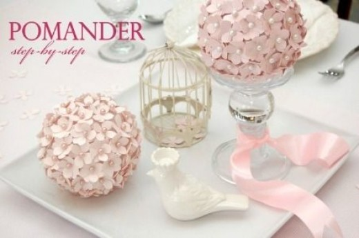 pink flowers pomander ball