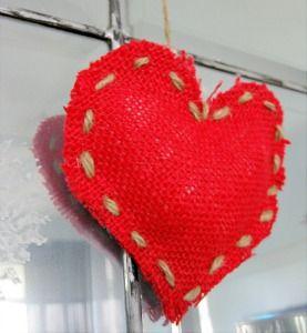 red burlap heart favors