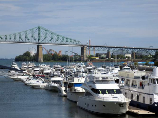 Old Port marina with the Jacques Cartier bridge in the background