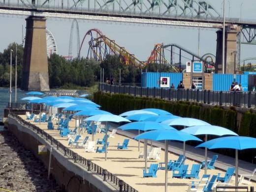 Marina's dock with Six Flags amusement park after the bridge
