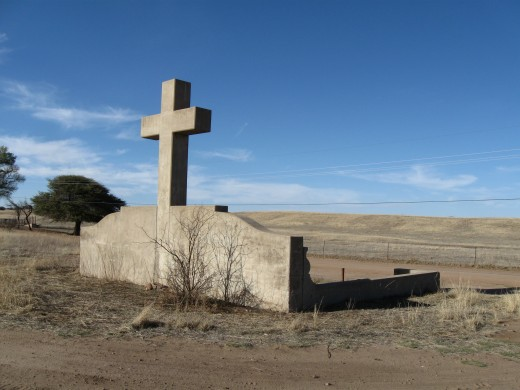 Monument to Fray Marcos de Niza, first European to enter Arizona, in Coronado National Forest in southern Arizona.