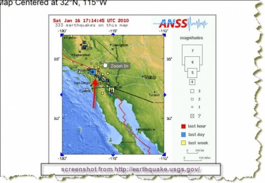 Banning CA Earthquakes week of January 15th 2010