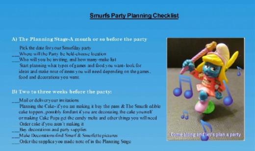 Smurfs Party Planning Ideas Checklist