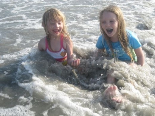 Here they are after the wave hit...you can see the excitement all over their faces...priceless!