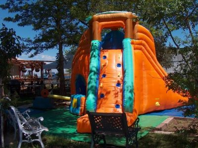 This is the back where the children climb up to slide one way or the other