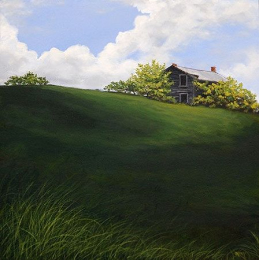 This is a painting based on a house which is still standing along the highway, but looking more weathered years later.