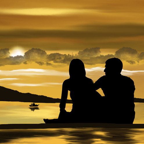 Romantic couple exotic beach scene