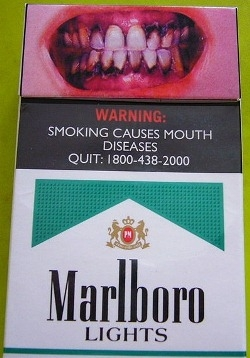 """Smoking causes mouth diseases"" warning on a pack of Marlboro Menthol"