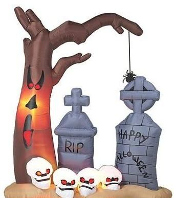 8ft Airblown Inflatable Halloween Tree, Skulls and Graveyard