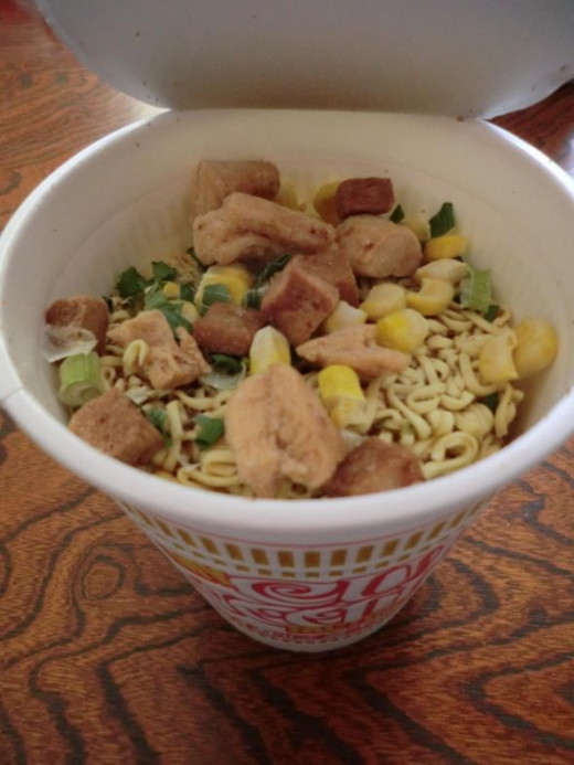 My creation from the CUPNOODLES Factory. I chose chicken soup, then chicken, pork, green onion and corn.