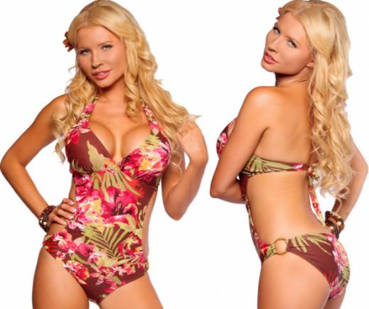 Sexy Womens Halter Side Cut Out Monokini Swimwear Bikini