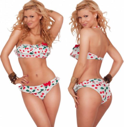 Womens Swimwear Bandeau Halter Ruffle Two Piece Sexy Bikini