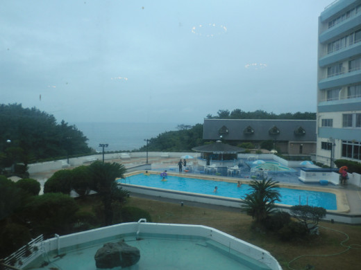 From the lobby is the pool and the ocean. It was raining the first day
