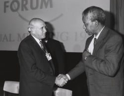 Frederik de Klerk with Nelson Mandela - World Economic Forum Annual Meeting Davos 1992