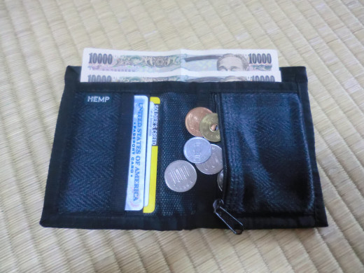 Bill-holder, zipper pocket for change with two card slots on the left