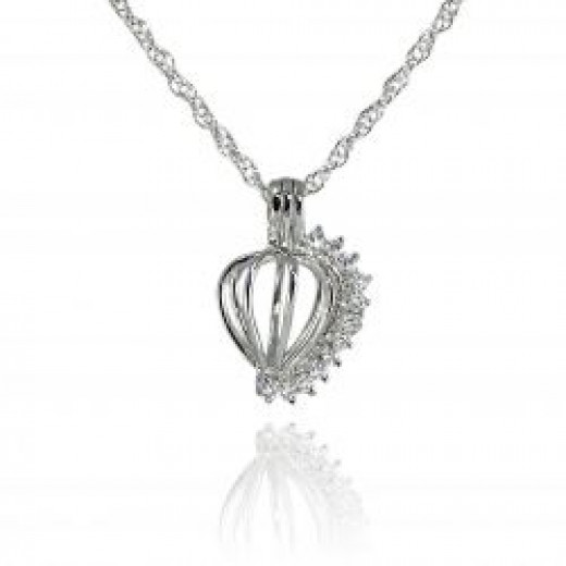 The Romantic Heart with Stones Wish Pearl Pendant