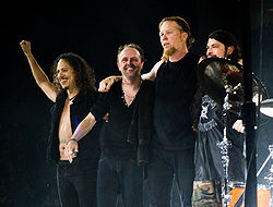 Metallica Live in London, 2008.   Left to Right: Kirk Hammett, Lars Ulrich, James Hetfield, and Robert Trujillo.
