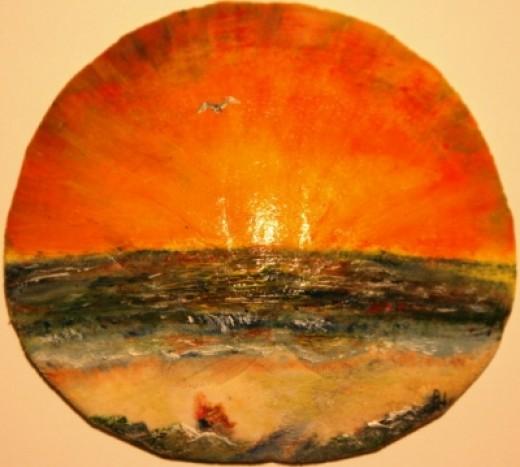 ~Girl on Beach watching the Sunset~