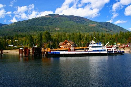 A large boat and our dock awaiting us on the west side of Kootenay Bay.