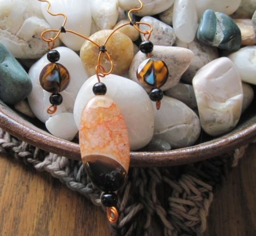 Agate with glass shell and copper necklace