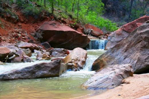 Small Waterfall on the Virgin River at the Narrows in Zion National Park