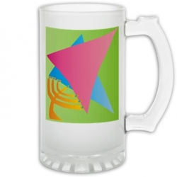 Jewish Star/Menora Frosted Glass Stein