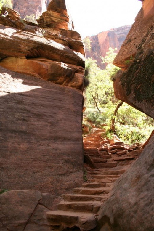 The 2nd set of stairs to the Middle Emerald Pools at Zions