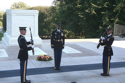 The changing of the guards at the Tomb of the Unknown Soldier
