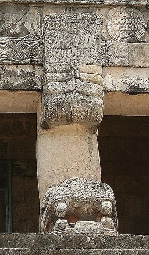 A close up of the jaguar hieroglyphics on the Jaguars on the Lower Temple of the Jaguars at Chichen Itza