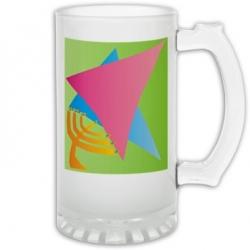 Jewish Star/Menora Frosted Glass Stein
