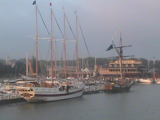 Tall ships Windy and Friends Good Will also wait at dock.
