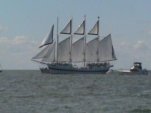 Tall ship Windy raises full sail to celebrate. Although she did not win the battle, she is still our original flagship and she is proud of it.