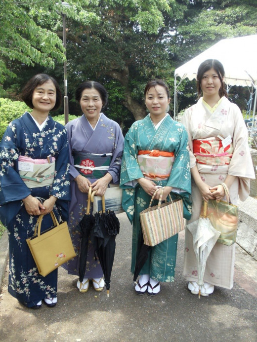 These are wonderful hosts and friends dressed in traditional kimonos for a memorial service.