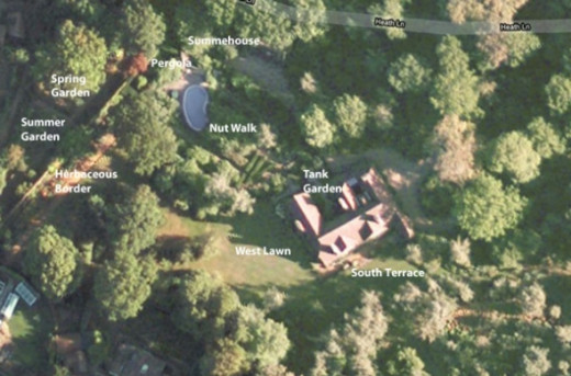 Annotated aerial view of the garden at Munstead Wood