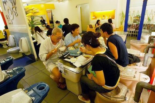 The Toilet Restaurant in Taiwan is made of toilets, sinks, and other potty-time attire. Please don't order the chocolate ice cream.