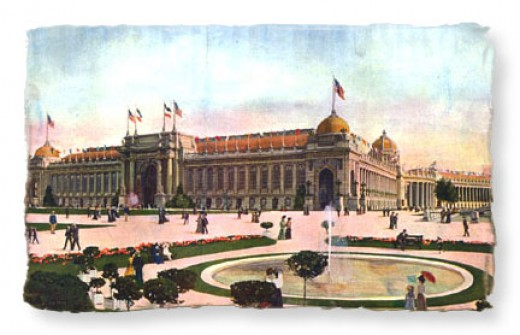 "1904 World's Fair at St. Louis and the ""Palace of Varied Industries"" 525 ft. wide and 1200 ft. long in today's Forest Park."