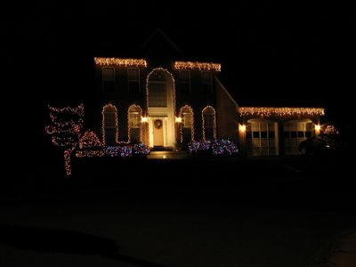 Decorating with icicle lights!