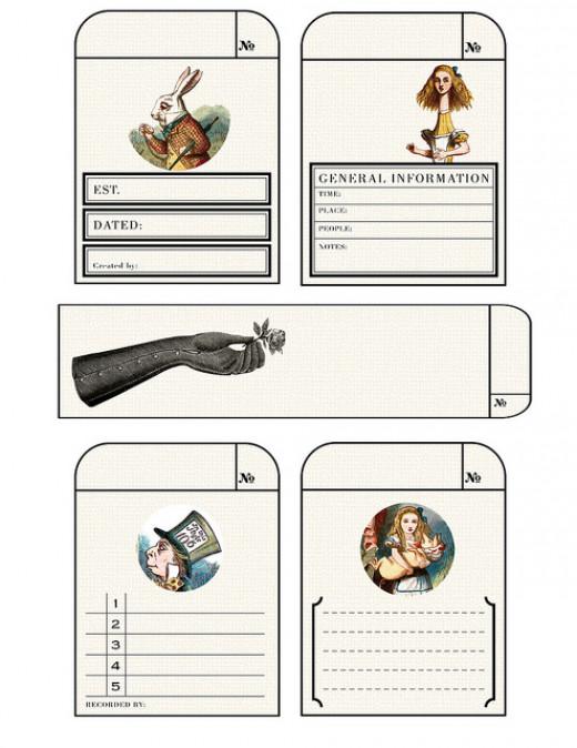 Journal cards alie in Wonderland theme