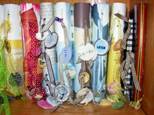 I thought the tags & ribbons on these were a nice pretty touch and I'm sure mention what year or theme each are.